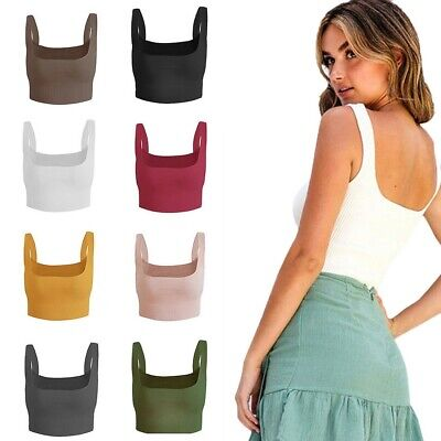 Womens Ladies Plain Sleeveless Strappy Cami Bralet Bra Summer Crop Tops Vest UK
