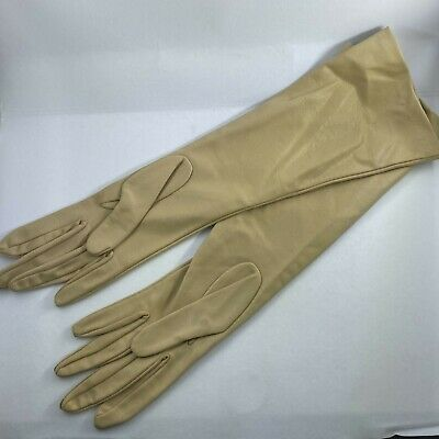 Vintage New Miss Aris Dress Gloves Womens 6.5 Beige 14.5 inches Long Nylon