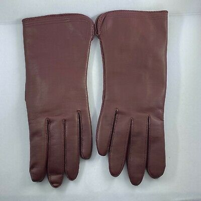 Vintage Fownes Driving Gloves Womens M Burgundy Acrylic lined Leather