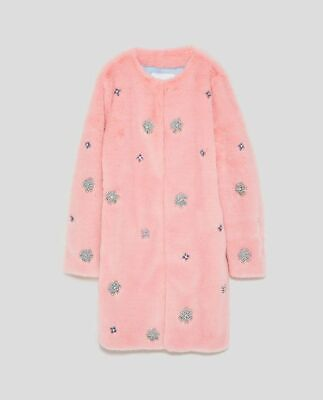Zara | Pink Bejewelled Faux Fur Coat | Embelleshed Coat | EUR S | Size Small