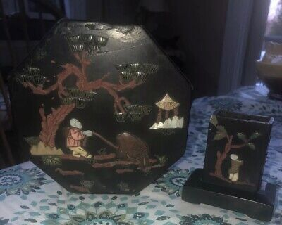 ANTIQUE  CHINESE BLACK Lacquer Octagon Covered  Box & Pen Holder