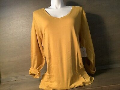 St Johns Bay Womens Shirt Long Sleeve TEE NEW MEDIEVAL GOLD SIZE PLUS 4X  $19