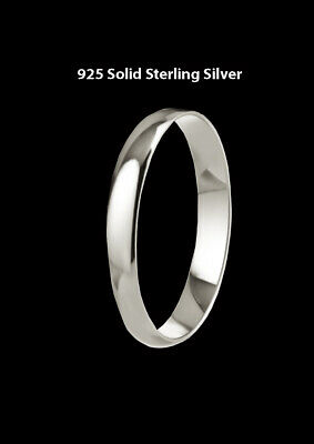 925 Real Solid Sterling Silver 3mm D-Shaped Wedding Ring Band -All Sizes