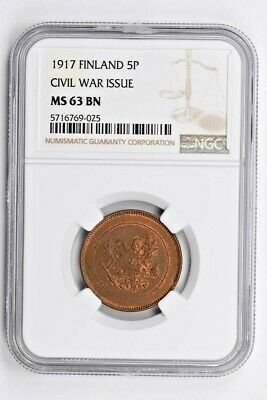 1917 Finland 5 Pennia NGC MS 63 BN, CIVIL WAR ISSUE Witter Coin