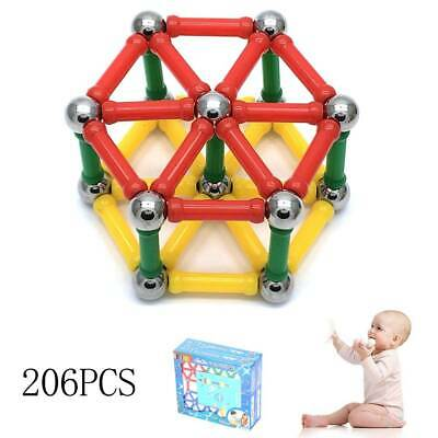 206Pcs Magnetic Building Blocks Sticks Kids Educational Tiles Toys Great Gift UK