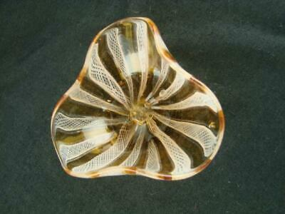 Vintage Murano Italian Art Glass Bowl, Venetian Latticino Ribbon Twist Decor