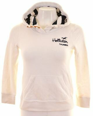HOLLISTER Womens Hoodie Jumper Size 6 XS White Cotton  A011