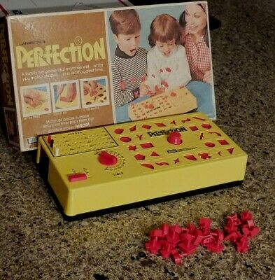 vintage 1973 Perfection Board Game COMPLETE VERY NICE puzzle timer