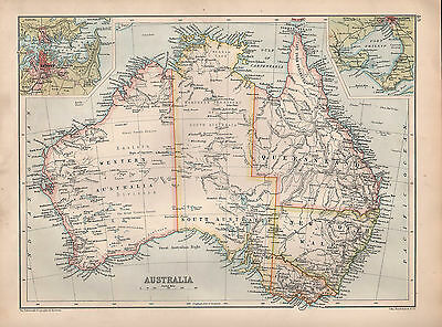 1901 Victorian Map ~ Australia ~ Queensland New South Wales Victoria Sydney