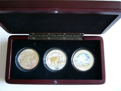 2007 Africa Silver Elephant Silver 3 Coin Set (Reg, Gold, Color) See Details!
