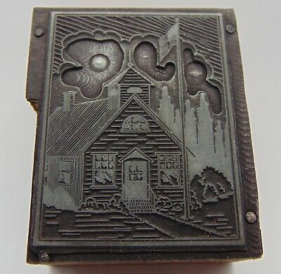 Printing Letterpress Printers Block Old School House With Flag