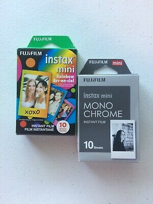 2x FujiFilm Instax Mini, RAINBOW+MONO CHROME, 10 Sheets Each - Please Read