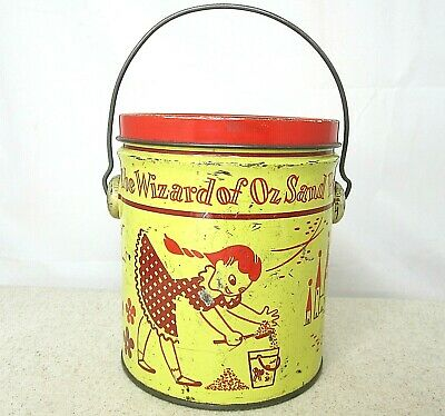 Vintage 1950s SWIFTS Wizard Of OZ 2 lb Peanut BUTTER Tin Pail  Chicago IL Sand