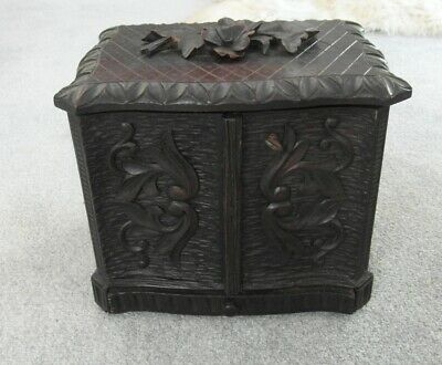Victorian Antique Black Forest Carved Wooden Humidor Cigar Table Box