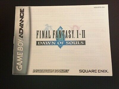 Final Fantasy 1 and 2 Dawn of Souls Manual Nintendo Gameboy Advance GBA Game Boy