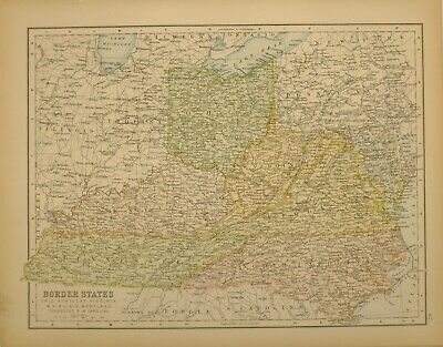 1897 Antique Map United States Border States Tennessee Kentucky Ohio Virginia