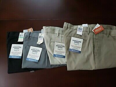 NWT NEW mens navy blue stripe 34//36 DOCKERS flat front classic fit khakis pants