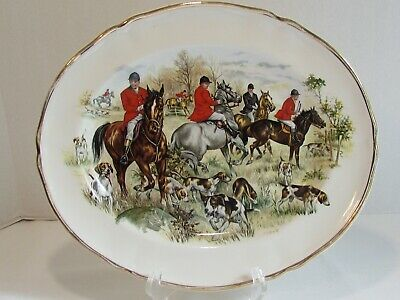 Liverpool Rd Pottery English Hunting Horses Dogs Oval Platter Alfred Meakin