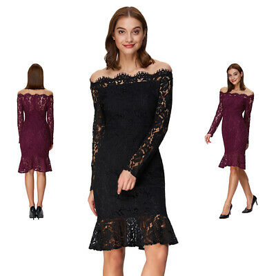 Spring Women Mermaid Dress Off Shoulder Lace Hollow Out Fishtail Skirt Dresses