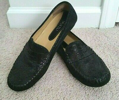 Vaneli Embossed Leather Slip On Driving Moc Penny Loafer Shoes Ladies 9.5M Black