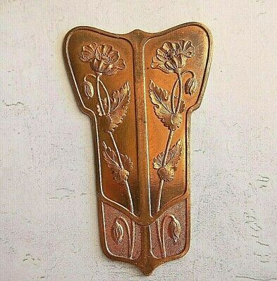 ART NOUVEAU STYLE - 1940s VINTAGE BRASS STAMPING - POPPIES FLOWERS REPURPOSE
