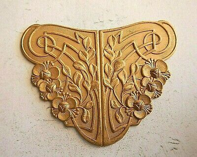 Vintage Brass Stamping Flowers Art Nouveau Style - Repurpose Jewellery Finding