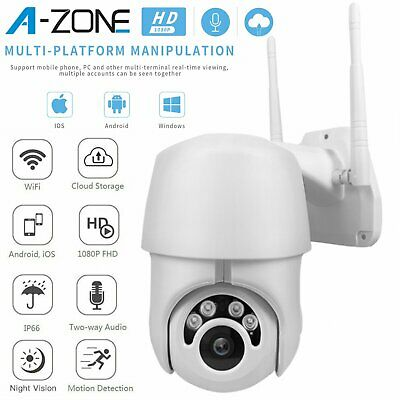 Outdoor Waterproof WiFi PTZ Pan/Tilt 1080P HD Security IP Camera IR Night Vision