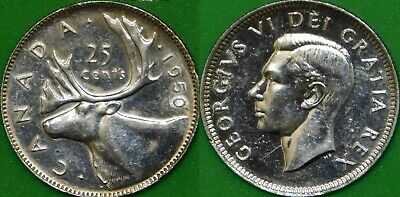 1950 Canada Silver Quarter Graded as Brilliant Uncirculated