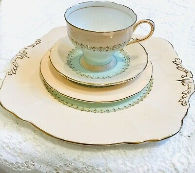 Paragon   Tea Cup and saucer / cake plate - Afternoon Tea China - peach/green