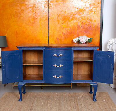 Antique Sideboard Blue Painted Credenza Stripped Top Edwardian Vintage