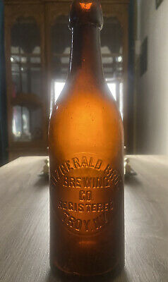 Rare Amber Blob Top Local Beer Fitzgerald Bros Troy NY 1890