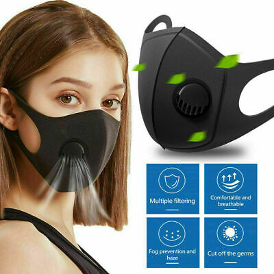 Premium Quality Face Cover Breathable Safety Mouth Face Mask With Filter Black