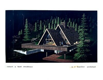 VTG 60s 70s ARCHITECTURAL Illustration DRAWING A-FRAME House MID CENTURY MODERN