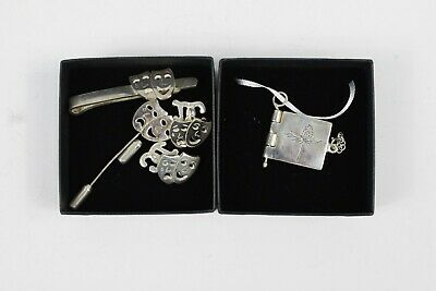 Job Lot Sterling Silver Theatre Masks Accessories Hallmarked 925 Cufflinks Pin