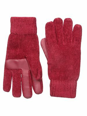 Isotoner Womens SmarTouch Texting Chenille Knit Winter Gloves - Red - One Size