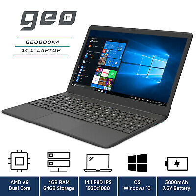 "GeoBook 4 14"" Laptop Windows 10 AMD A9, 64GB eMMC, 4GB RAM Geo Book"