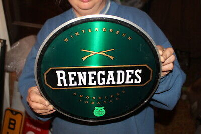 "Vintage Renegades Chewing Tobacco Gas Station 12"" Embossed Metal Sign"
