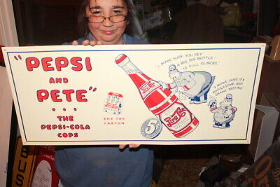 "Pepsi Cola & Pete Cops Soda Pop Gas Oil 27"" Embossed Metal Sign~Nice"
