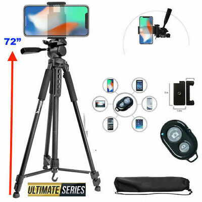 """72"""" TRIPOD + MOUNT + REMOTE for IPHONE 7 8 X 10 XS 11 SAMSUNG NOTE GALAXY DSLR"""