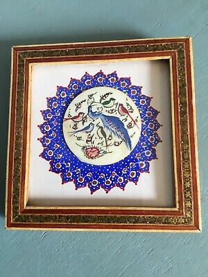 Lovely Vintage Indian Ethnic Hand painted Bird Picture with Inlaid Frame #1709