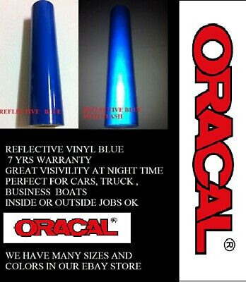 """12"""" x 5 FT Blue Reflective Vinyl Adhesive  Sign Made in USA Oracal Oralite"""