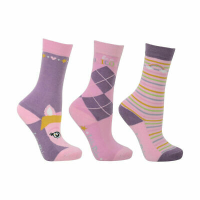 HyFASHION GIRLS LITTLE UNICORN BAMBOO SOCKS PACK OF 3, 8 to 12 YEARS PINK/LILAC