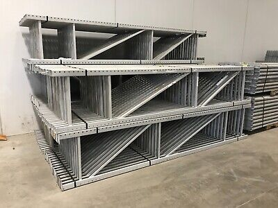 "Two Sections Tear Drop Pallet Racking, 28""W x 12'H."
