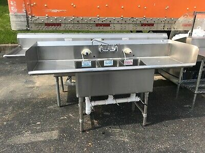 Three Bowl/Compartment Commercial Sink, Restaurant Bakery...