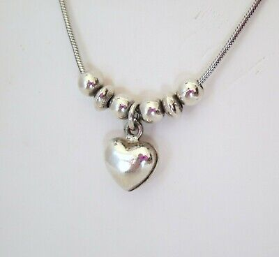 SILPADA .925 Sterling Silver Puffy Heart Bead 15in Necklace N1484