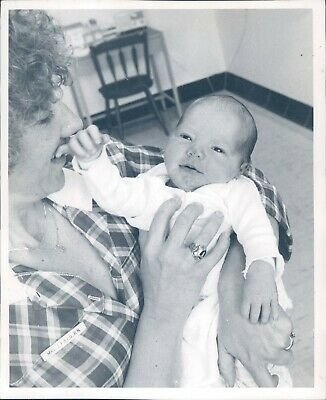 Photo Cute Child Baby Outfit Ring Smiling Field Nurse 8x10 Vintage Image