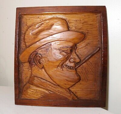 antique carved wood Franklin Roosevelt wall relief art plaque sculpture Folk Art