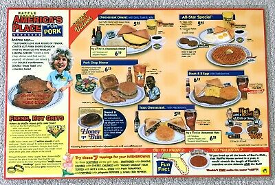 """2001 WAFFLE HOUSE Menu Placemat """"America's Place for Pork"""" w/ Caricatures"""