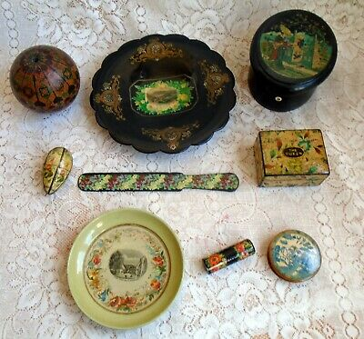 Collection Of Scottish Mauchline Alternative Finish Sewing & Decorative Objects
