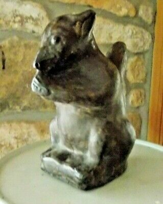 Oriental Hollow Pottery Naive Squirrel Figure Matt Brown Glaze Antique